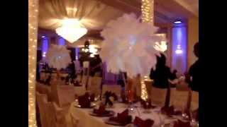 Fall Themed Ostrich Feather Centerpiece Rentals with Panee Orchids