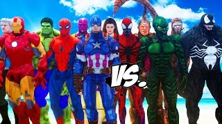 THE AVENGERS VS SPIDERMAN ENEMIES - VENOM, GREEN GOBLIN, CARNAGE, SCORPION, RHINO VS THE AVENGERS