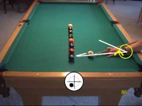 Pool line-of-balls drill for learning cue ball control, from VEPP II ( NV  C 8)