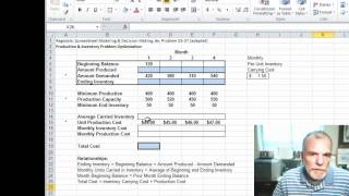 Using excel solver for a production - inventory optimization problem