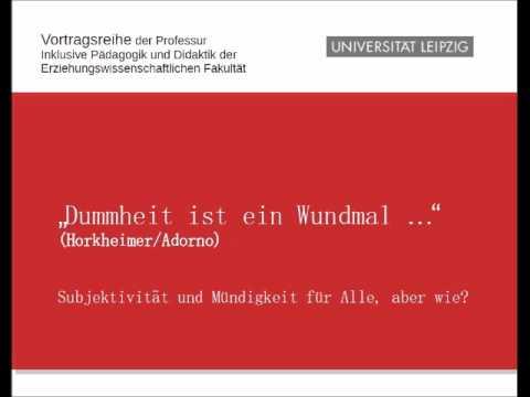 """Wolfgang Jantzen-""""Dummheit ist ein Wundmal"""" Vortragsreihe Uni Leipzig"""