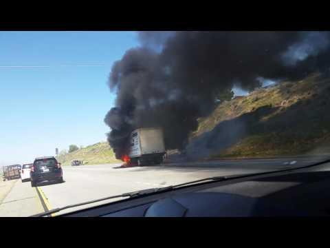 Freeway 14 / Antelope Valley AV / Palmdale Lancaster / Car Accident Truck on Fire