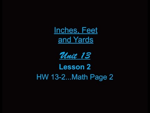 Lesson 2: Inches, Feet and Yards