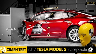 2016 Tesla Model S Small Overlap IIHS Crash Test Car - RATING Acceptable