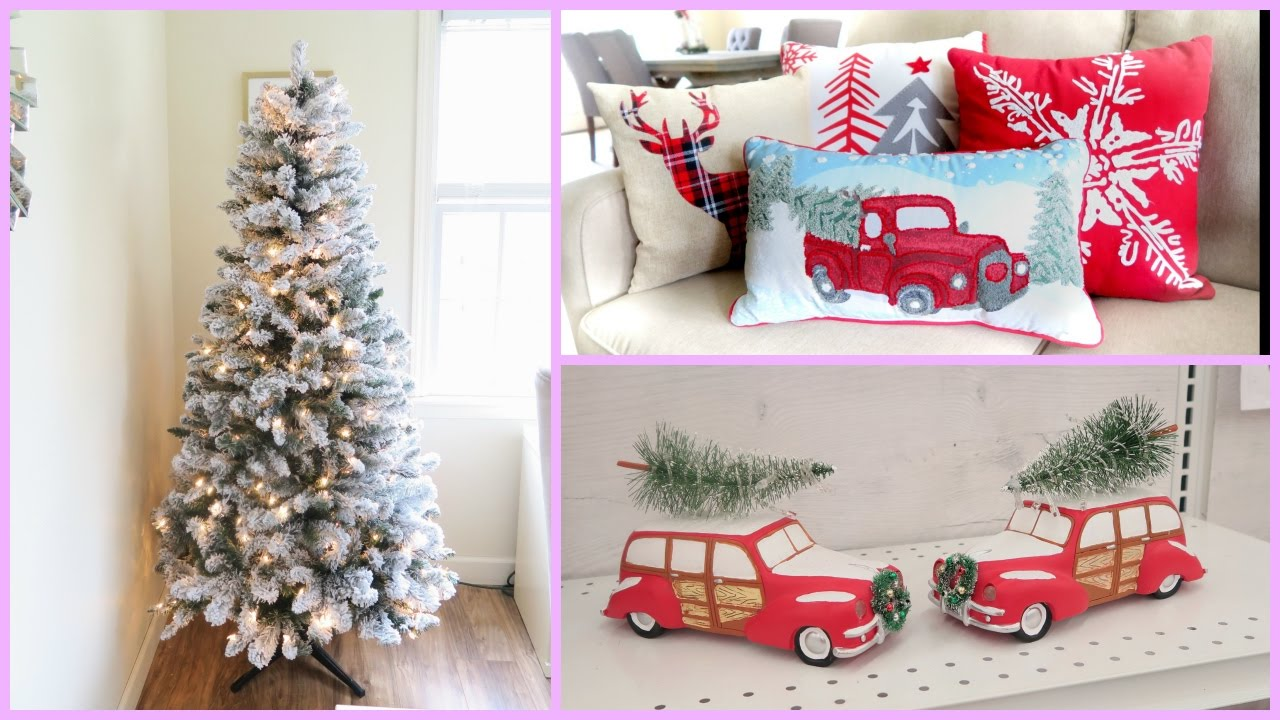 Christmas home decor haul new flocked christmas tree for Christmas decorations for home interior