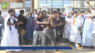 تواصل احتجاج الطلاب المطالبة بتوفير النقل من والى الجامعة الجديدة - قناة المورابطون