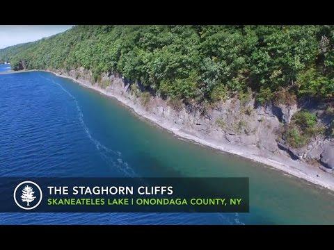 Staghorn Cliffs On Skaneateles Lake Aerial Video Finger Lakes