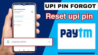 how to reset paytm payment bank upi pin code | how to get forget paytm upi pin