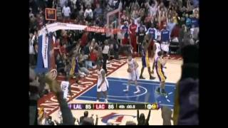 Derek Fisher buzzer beater against Clippers 12/8/10 on KCAL9 Good quality