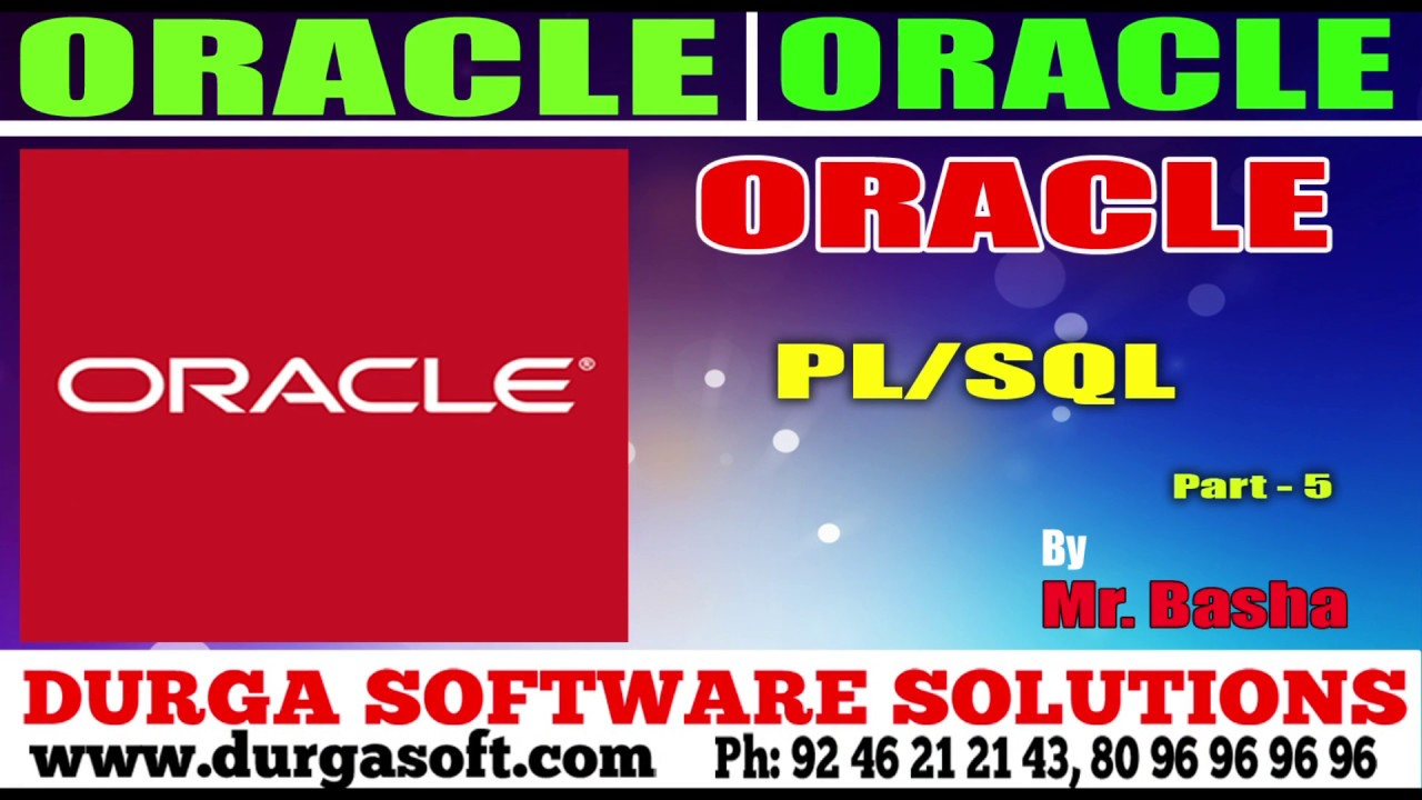 Oracle Tutorial||Onlinetraionin||Oracle|PL/SQL Part - 5 by