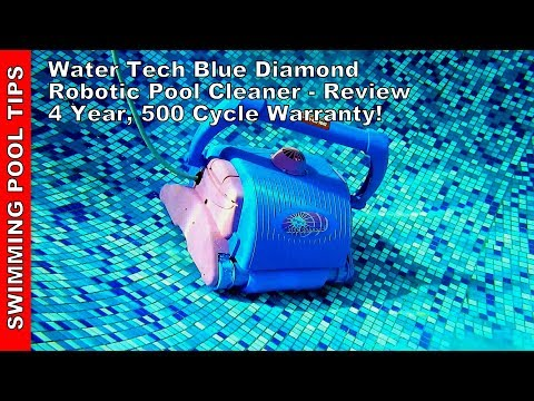 Water Tech Blue Diamond Robotic Pool Cleaner Review - 4 Year 500 Cycle Warranty!