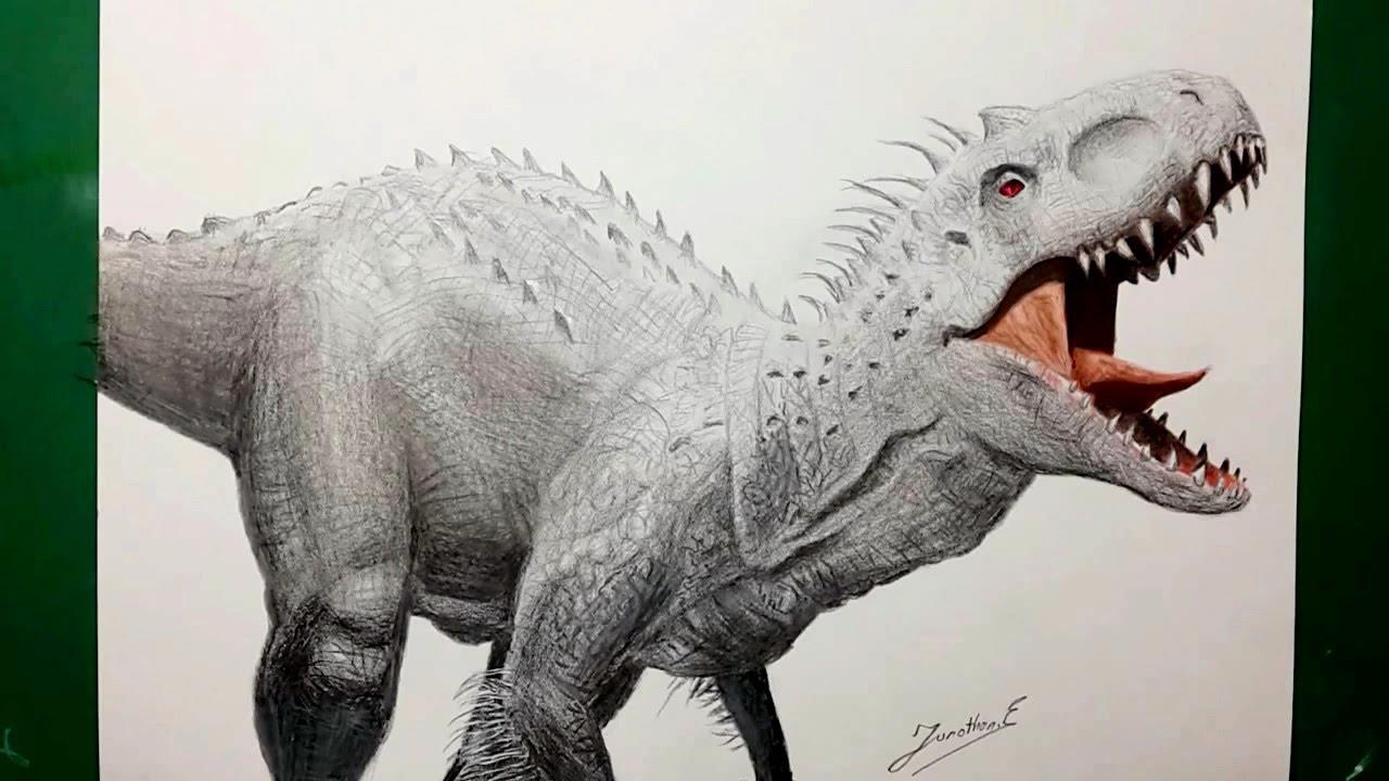 Speed Drawing Indominus Rex Dibujando Al Indominus Rex Youtube