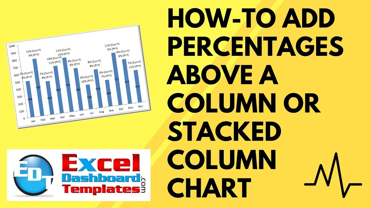 Howto Add Percentages Above A Column Or Stacked Column Chart In Excel