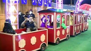 COSTUME PLAY - Cosplay Upin Ipin & Cosplay Teletubbies Ride Train In Gofun OdongOdong Kereta Api