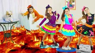 BRINCADEIRAS DE CRIANÇA EM DOSE DUPLA 14 - Mileninha Finge Brincar Chão é Lava e Concurso de Dança