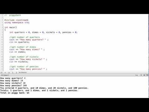 C++ Piggy Bank Program Using Variables and Constants