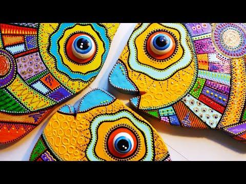 Как сделать декоративную рыбу из картона (точечная роспись, картонаж)