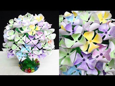 DIY-New Design Paper flower Guldasta From Empty Plastic bottles|Water Bottle Recycle-Home Decor idea