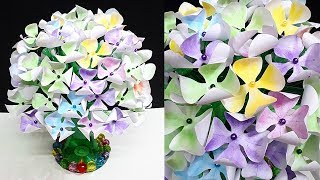 DIY-New Design Paper flower Guldasta From Empty Plastic bottles|Water Bottle Recycle-Home Decor idea