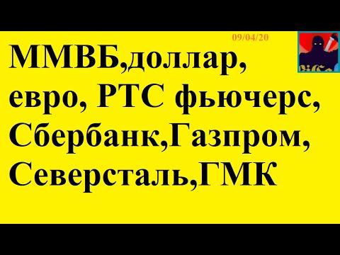 ММВБ,доллар,евро, РТС фьючерс, Сбербанк,Газпром,Северсталь,ГМК 09/04/20