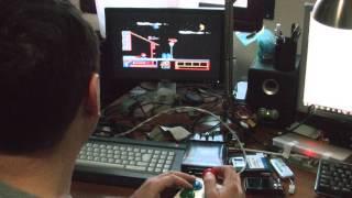 "Usando mi Joystick ""Hand made"" norma Atari/Kempston en mi CPC 6128."