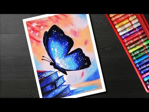 How to draw Glowing Butterfly Scenery drawing and painting