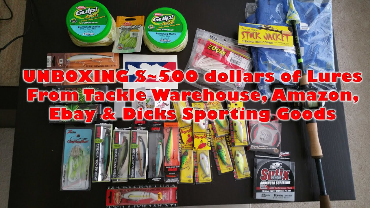 500 unboxing tackle warehouse more lures tackle for for Dicks sporting goods fishing