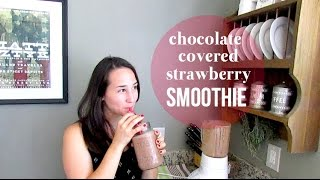 Chocolate Covered Strawberry Smoothie | Healthy + Vegan