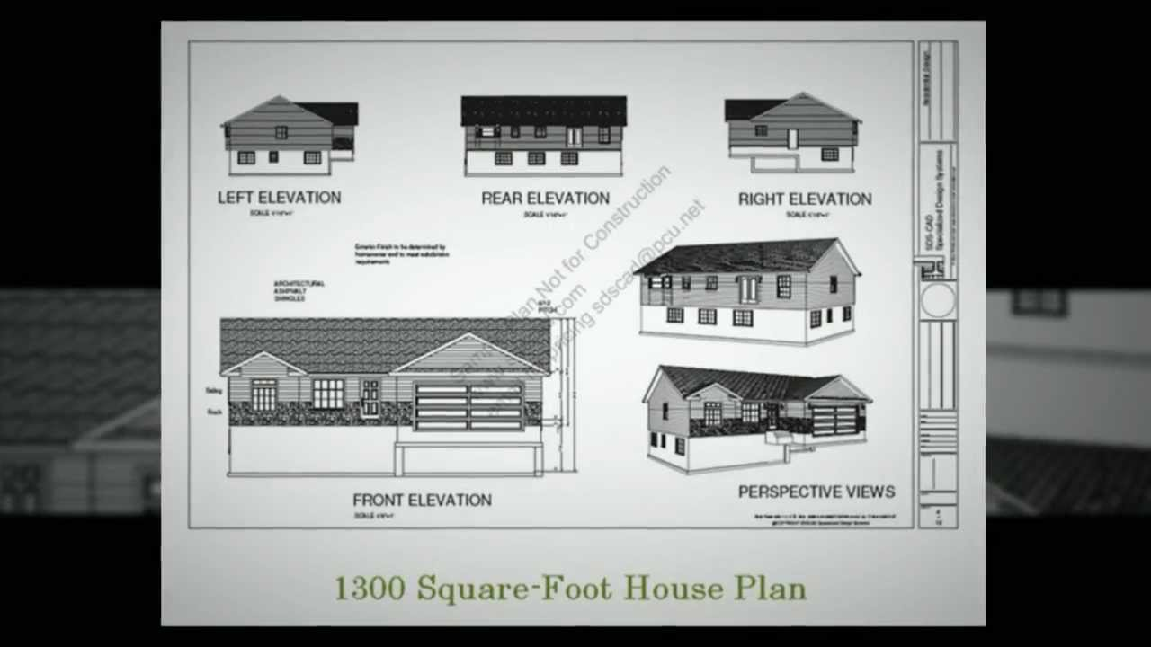 Low cost house plan 1300 square foot house plan youtube for Low cost per square foot house plans