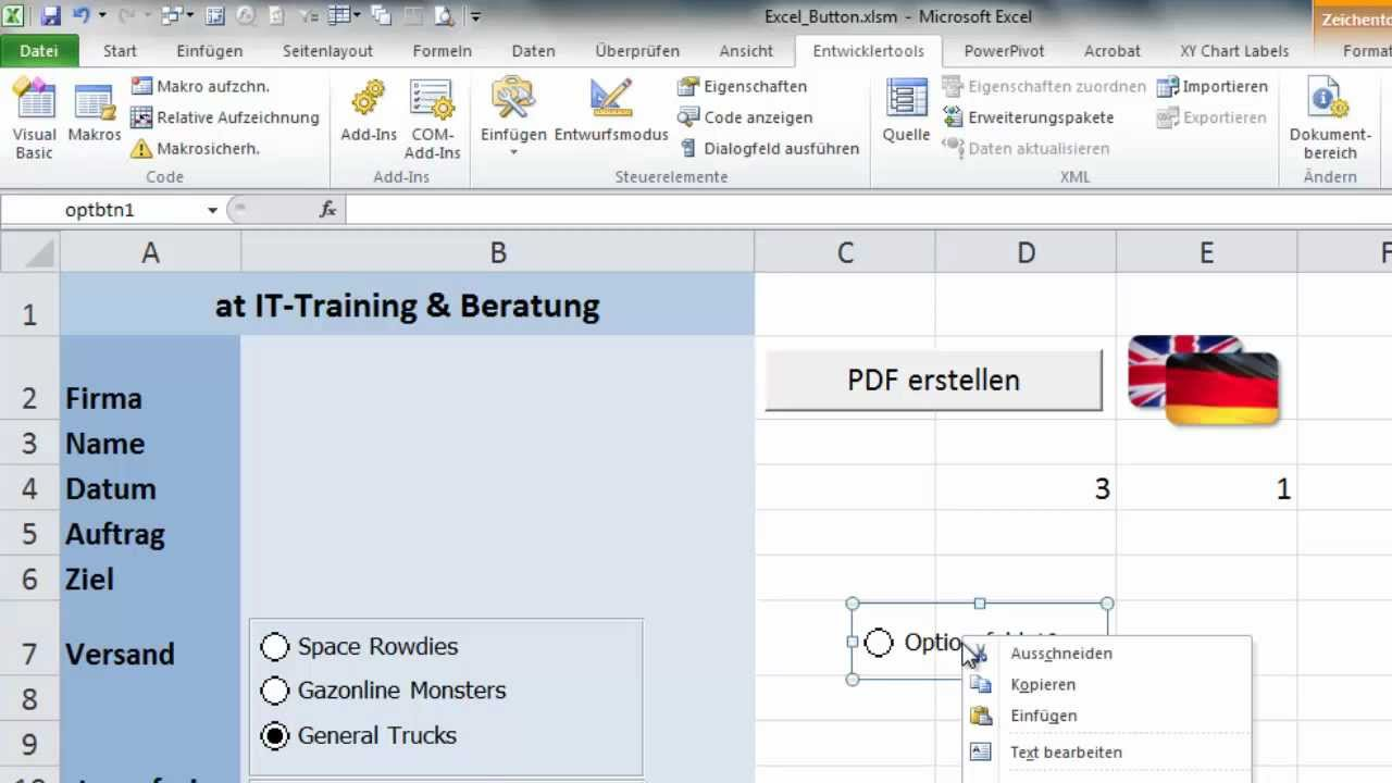 Excel - Formulare mit Optionsschaltern - YouTube