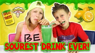 Extreme SOUR SMOOTHIE Challenge!!!! Warheads, Toxic Waste (DANGEROUS!!!)