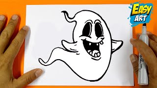 como dibujar un fantasma - how to draw a ghost halloween - dibujos para colorear