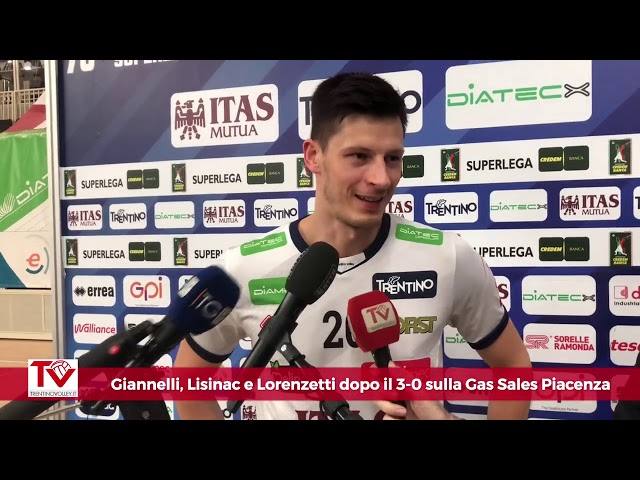 Giannelli, Lisinac e Lorenzetti dopo il 3-0 su Piacenza