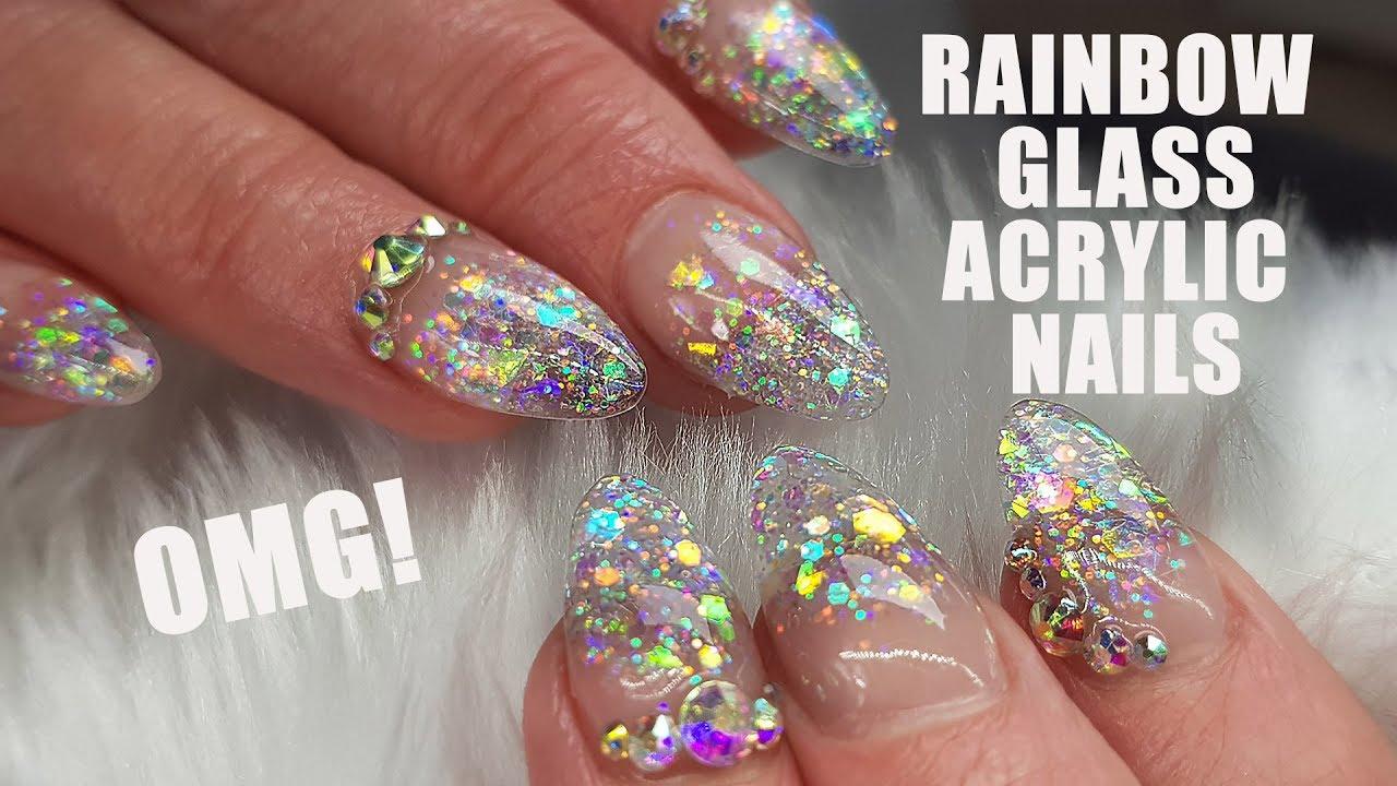 Acrylic Nails | Rainbow Glass Tip Nail Design | Sculpted Nails | New ...