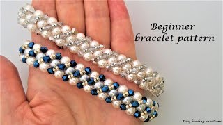 WOW, WOW!!!!!  Elegant beaded bracelet.  Beginner bracelet pattern, DIY
