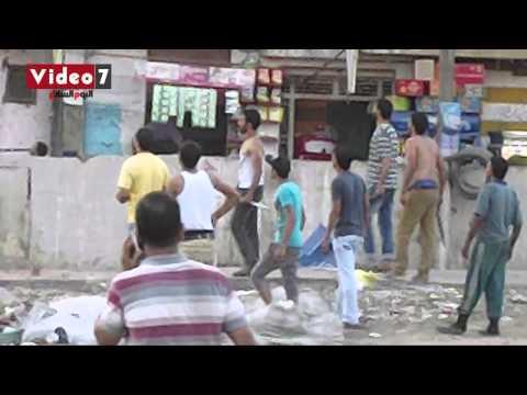 بالفيديو  معركة بالأسلحة الآلية بين عائلتين أمام محور 26 يوليو