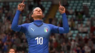 Football game volley shoot Italy vs England