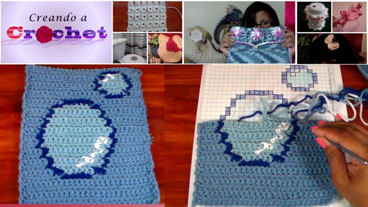 Motivo de Burbujas en Crochet para Cubierta del Tanque del Inodoro ...