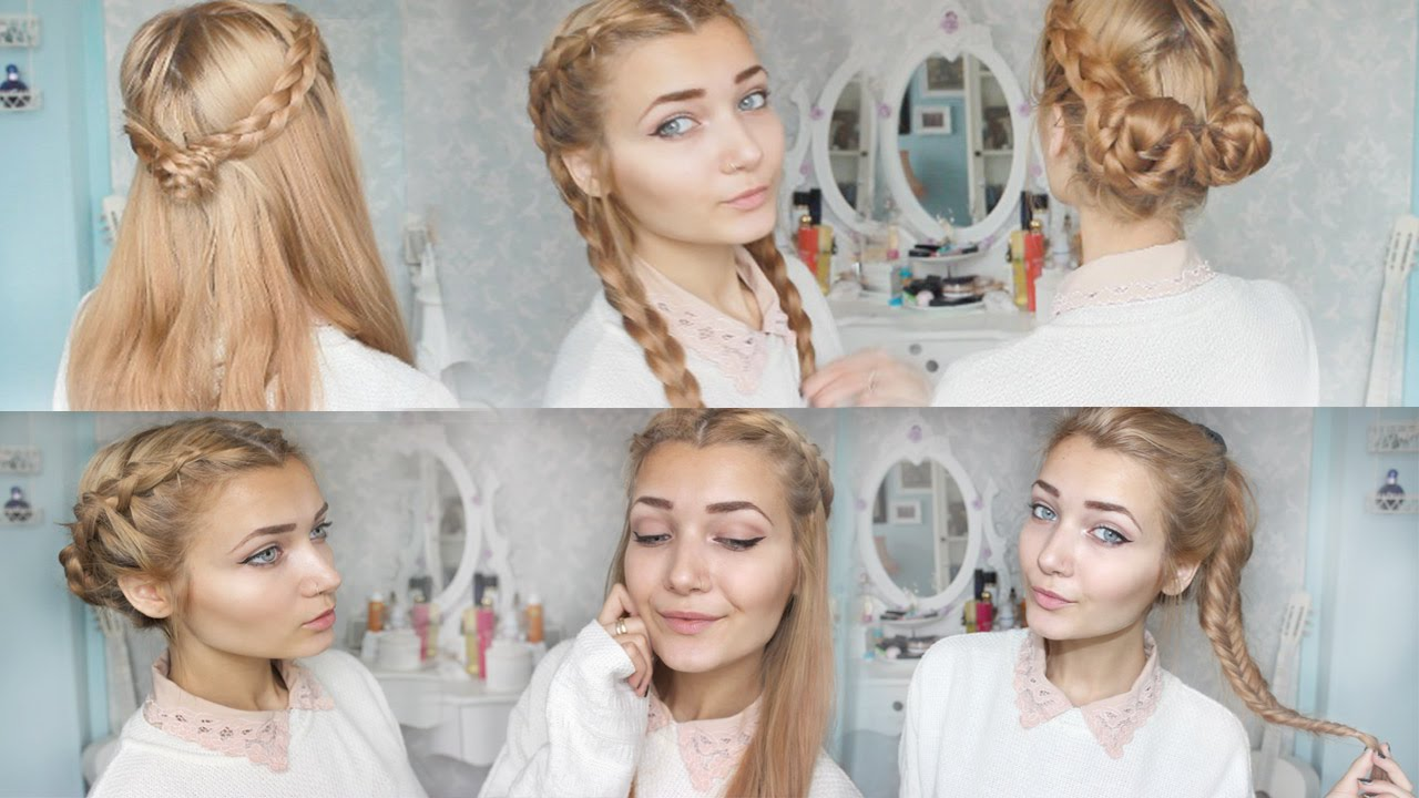 4 Cute Braid Back To School Hairstyles - YouTube
