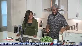 Cooking collard greens with Rickey Smiley