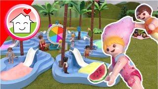 Playmobil Familie Hauser - Pool Glücksrad - Schaumparty im Aquapark mit Anna und Lena