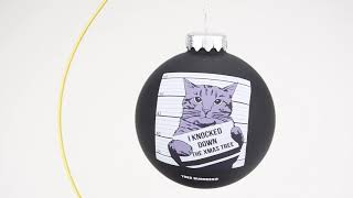 Funny Cat Mugshot For Knocking Down the Christmas Tree Glass Ornament by Tree Buddees