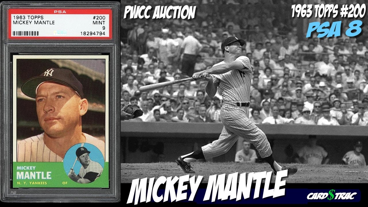 1963 Mickey Mantle Topps 200 Card For Sale Graded Psa 8 1963 Mickey Mantle