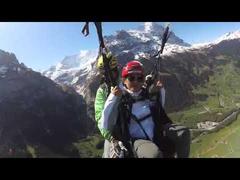 Paragliding In Grindelwald, Switzerland, May 2018.