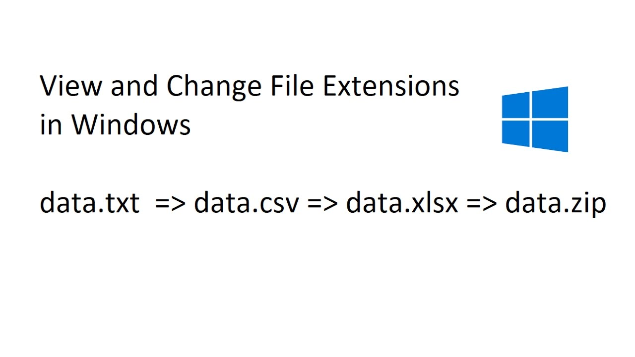 Change File Extension ( txt  csv  xlsx  zip) in Windows