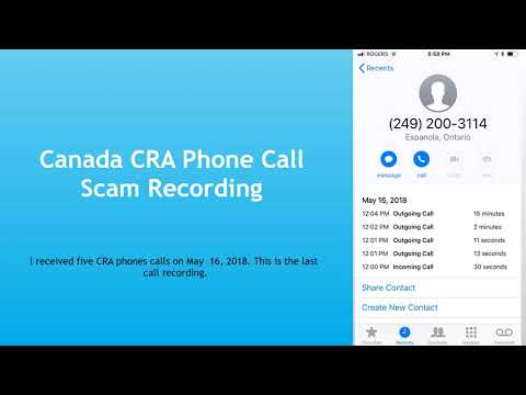 Canada CRA Email / Message Scam Example and Phone Call Scam Fraud Recording 2018