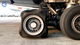 Amazing process of changing an airplane tire ▶ large tire changer in operation