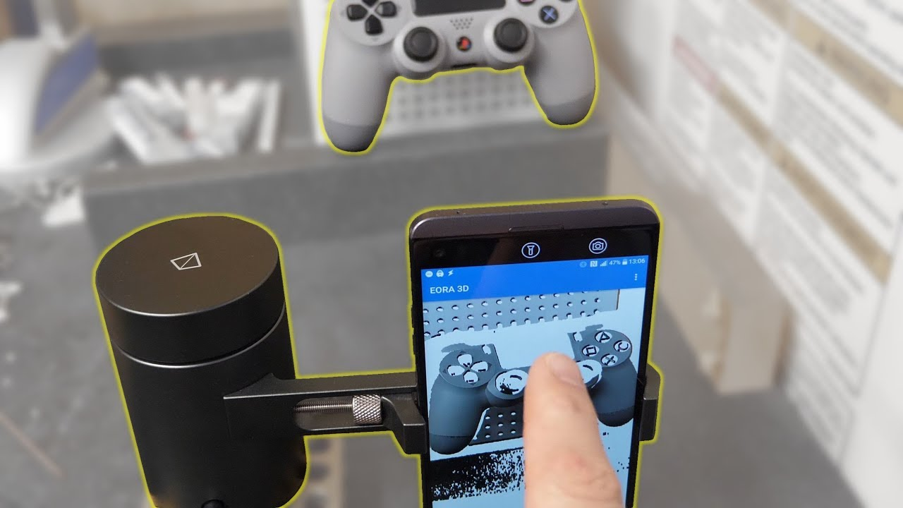 Using an Eora 3D Scanner and the Alpha Android App to Scan a PS4 Controller