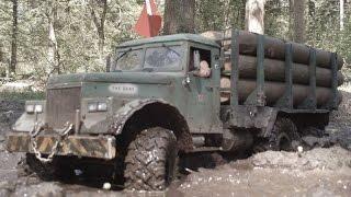 rc axial scx10 6x6 kraz 255 logging truck work