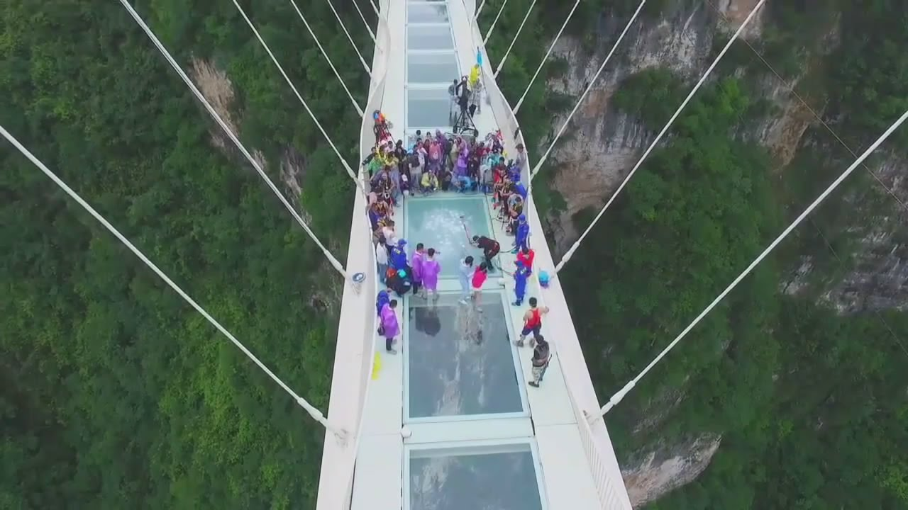 aerial view zhangjiajie glass bridge destruction test youtube - Zhangjiajie Glass Bridge